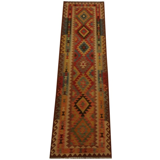Kilim Tribal Hand-Woven Wool Red / Beige Area Rug