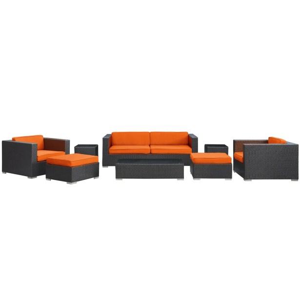 Venice 8 Piece Rattan Sofa Set with Cushions Color: Espresso, Fabric: Orange