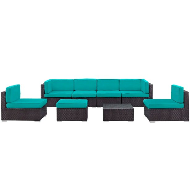 Ryele 8 Piece Rattan Sectional Set with Cushions Fabric: Turquoise