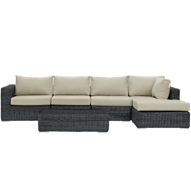 Keiran 5 Piece Sunbrella Sectional Set with Cushions Fabric: Antique Beige
