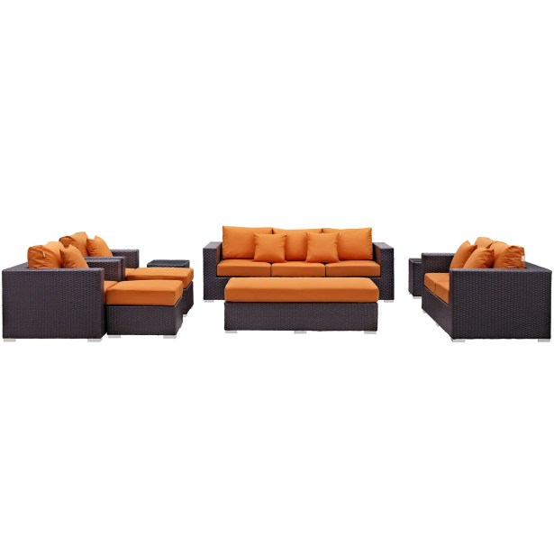 Ryele 9 Piece Rattan Sectional Set with Cushions Fabric: Orange