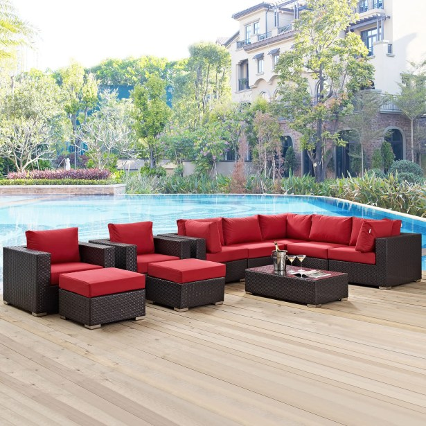 Ryele 10 Piece Rattan Sectional Set with Cushions Fabric: Red