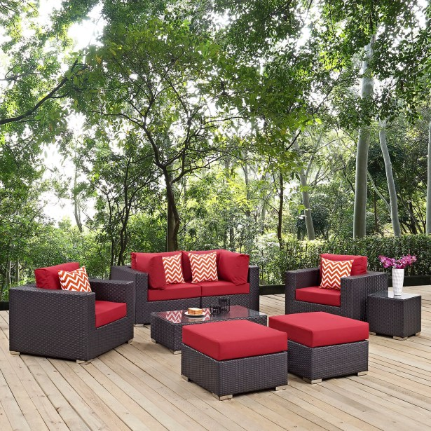Ryele 8 Piece Rattan Sectional Set with Cushions Fabric: Red