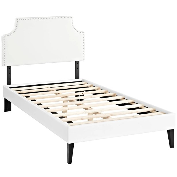 Preciado Upholstered Platform Bed Color: White, Size: Twin