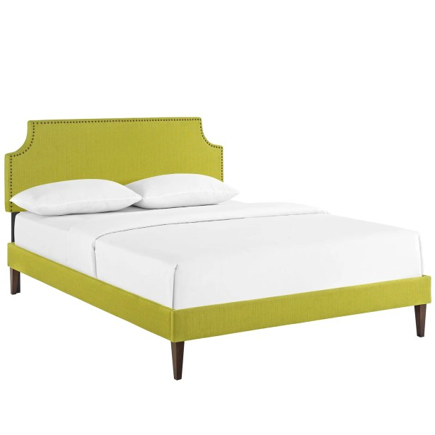 Preciado Upholstered Platform Bed Color: Wheatgrass, Size: Queen