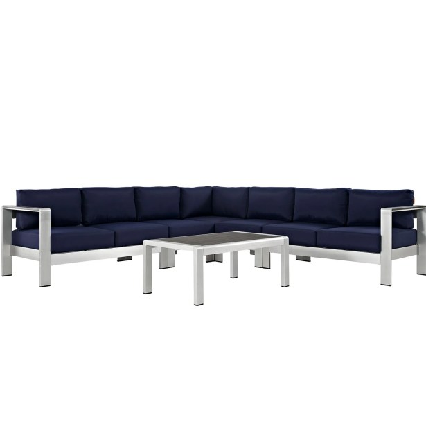 Coline 6 Piece Sectional Seating with Cushions Fabric: Navy