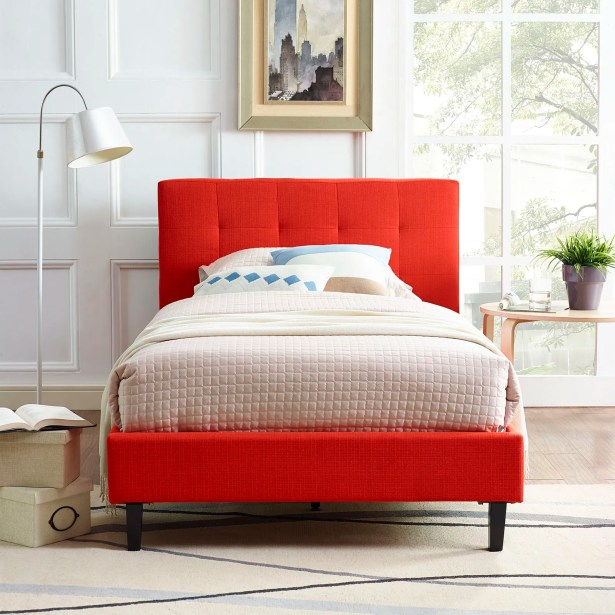 Molinaro Upholstered Platform Bed Size: Twin, Color: Atomic Red