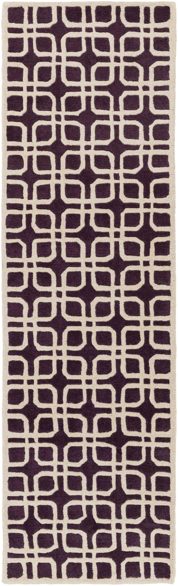 Murrah Purple/Ivory Area Rug Rug Size: Runner 2'3