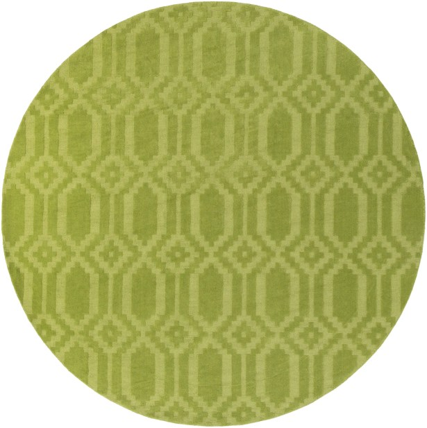 Brack Hand-Loomed Green Area Rug Rug Size: Round 6'