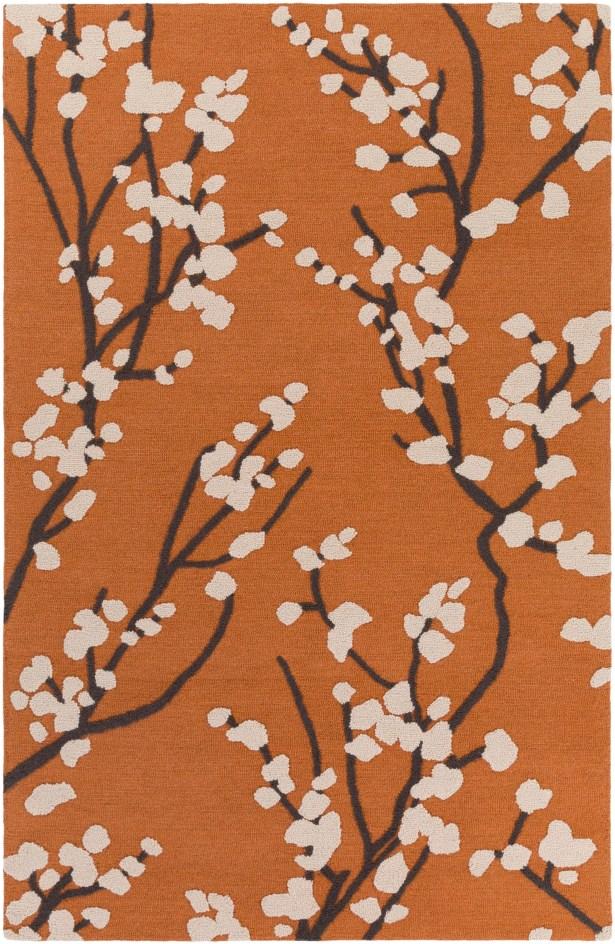 Dykstra Hand-Crafted Orange/Ivory Area Rug Rug Size: Rectangle 7'6