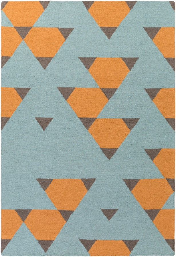 Youngquist Hand-Crafted Orange, Aqua/Gray Area Rug Rug Size: Rectangle 7'6