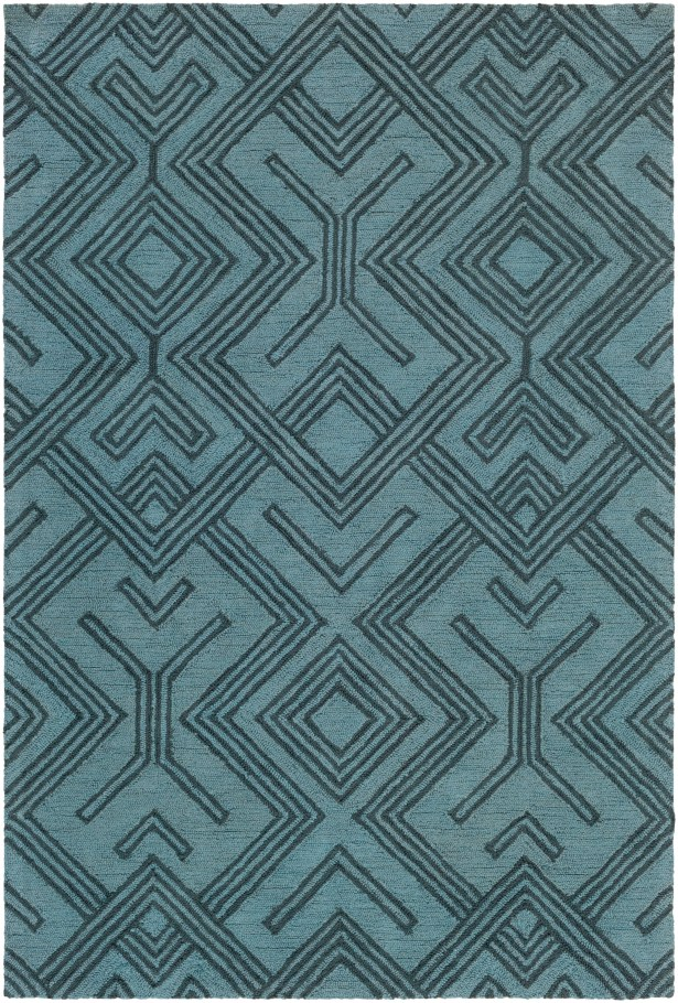 Litwin Hand-Tufted Light Blue/Navy Area Rug Rug Size: Rectangle 5' x 7'6