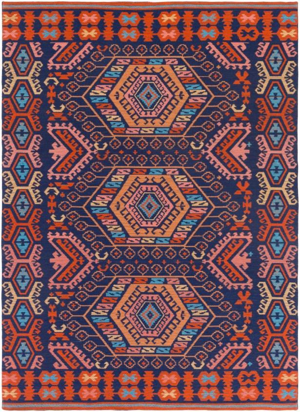 Keeter Handmade Poppy Red/Navy Blue Indoor/Outdoor Area Rug Rug Size: Rectangle 9' x 13'