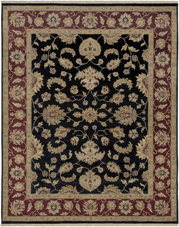 Victoire Ebony/Red Area Rug Rug Size: Rectangle 9' x 12'