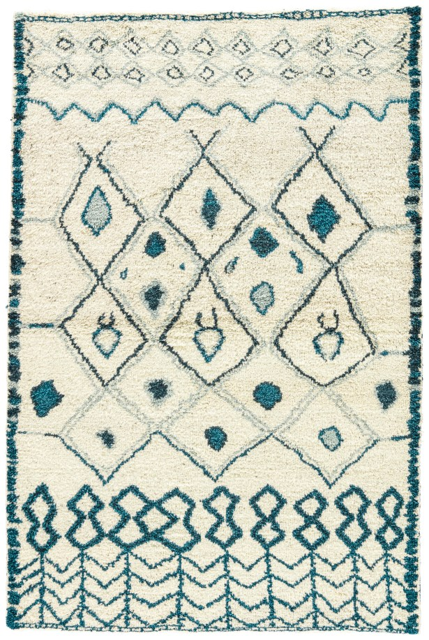 Halton Hand-Knotted Cream/Blue Area Rug Rug Size: Rectangle 5' x 8'