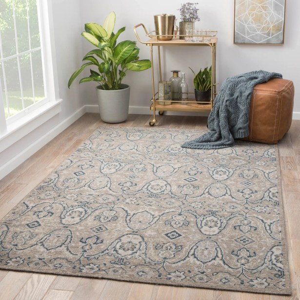 Angkor Hand-Knotted Wool Gray Area Rug Rug Size: Rectangle 5' x 8'