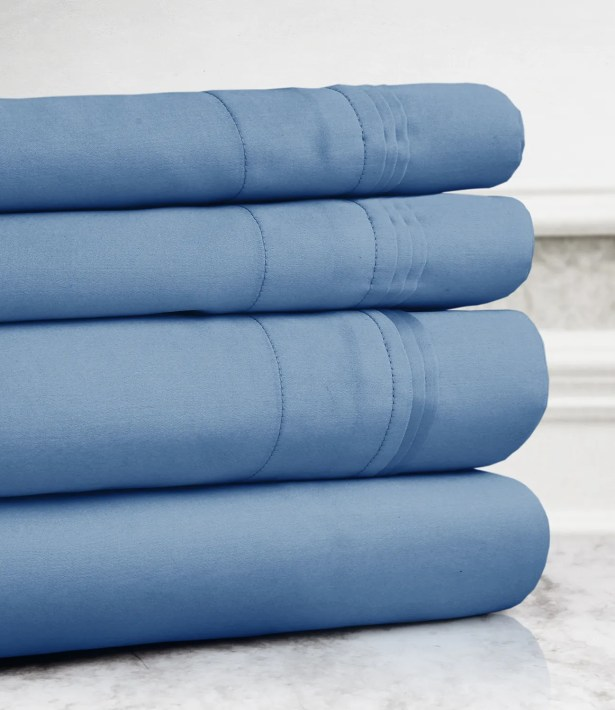 Valentino 4 Piece 1200 Thread Count Egyptian Quality Cotton Sheet Set Color: Blue, Size: King