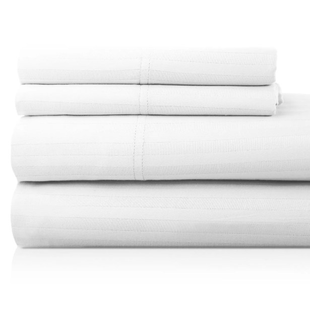 Valentino 4 Piece 1200 Thread Count Egyptian Quality Cotton Sheet Set Color: White, Size: Queen