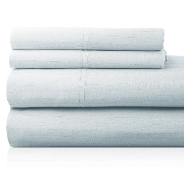 Valentino 4 Piece 1200 Thread Count Egyptian Quality Cotton Sheet Set Size: California King, Color: Sky