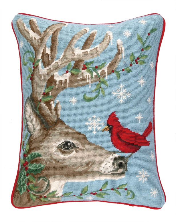 Winter Nest Reindeer Needlepoint Lumbar Pillow