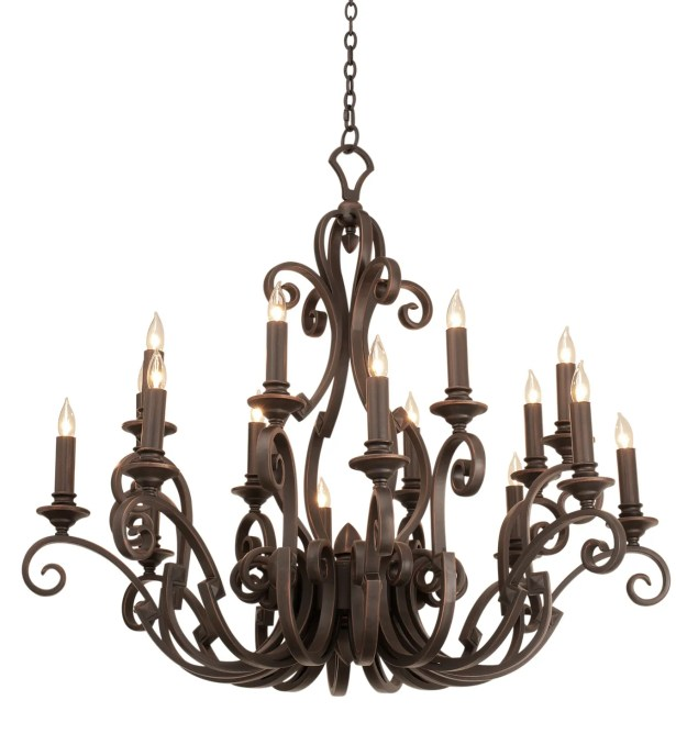 Ibiza 16-Light Chandelier Finish: Antique Copper, Shade Type: Medium Beige Linen