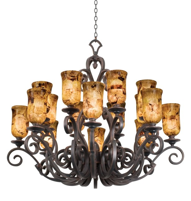 Ibiza 16-Light Shaded Chandelier Finish: Antique Copper, Shade Type: Tall Faux Marble