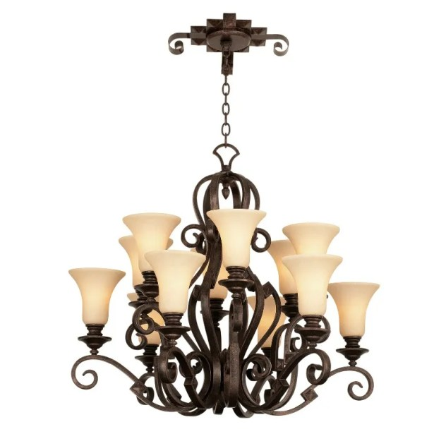 Ibiza 12-Light Shaded Chandelier Finish: Antique Copper, Shade Type: Light Beige
