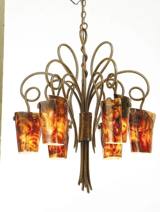 Tribecca 6-Light Shaded Chandelier Finish: Antique Copper, Shade: Tribecca Antique Filigree Side Glass