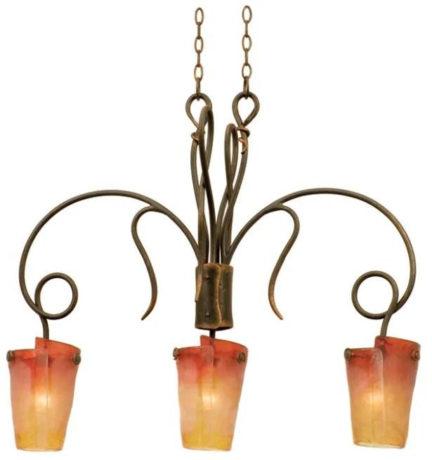 Tribecca 3-Light Kitchen Island Pendant Finish: Antique Copper, Shade: Tribecca Flame Side Glass