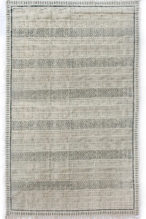 Astin Block Print Hand Knotted Cotton Black/Beige Area Rug Rug Size: Rectangle 9' x 12'1