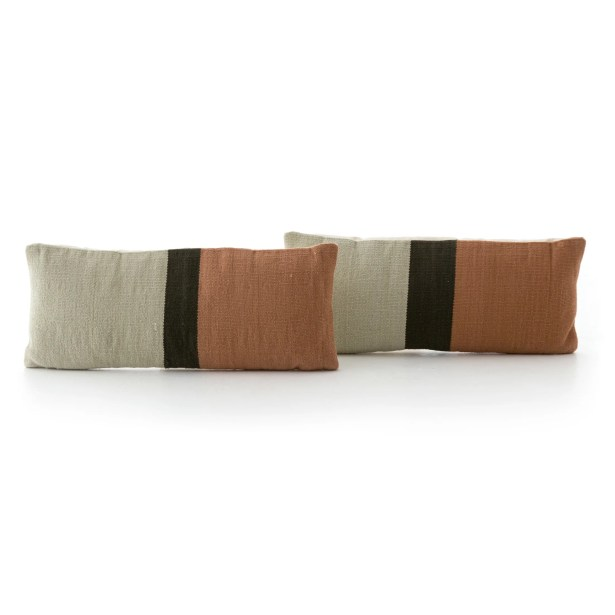 Natalee Block Stripe Lumbar Pillow Color: Rust