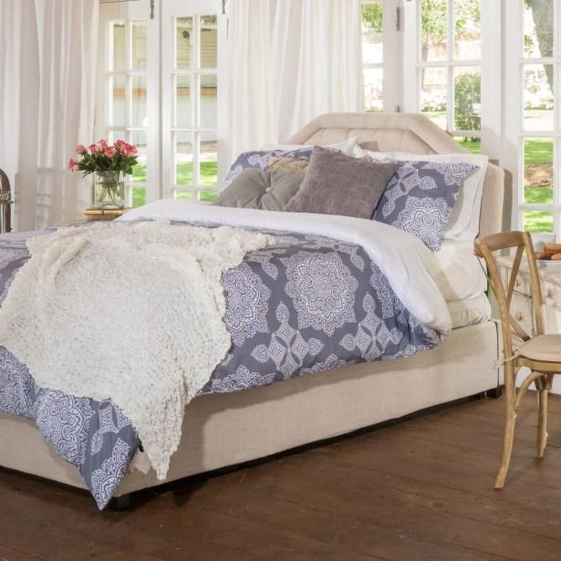 Haverford Fabric Upholstered Storage Platform Bed Color: Light Beige, Size: Queen