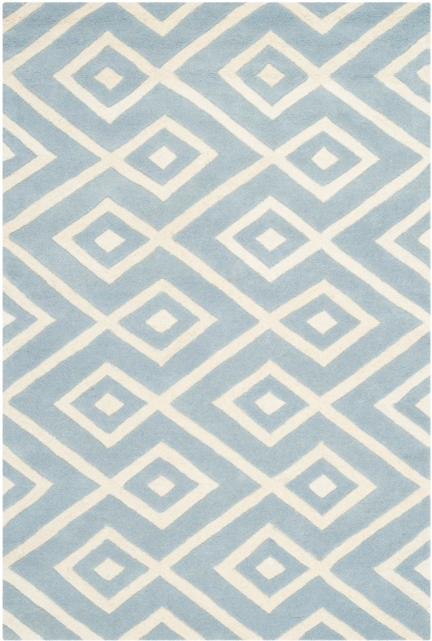 Wilkin Hand-Tufted Wool Blue/Ivory Area Rug Rug Size: Rectangle 4' x 6'