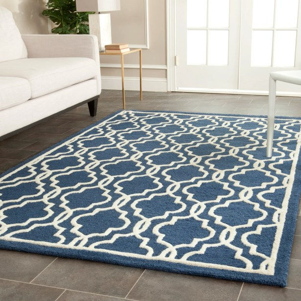 Martins Hand-Tufted Wool Navy/Ivory Area Rug Rug Size: Rectangle 11' x 15'