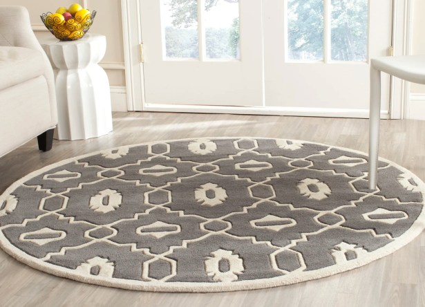 Wilkin Moroccan Hand-Tufted Wool Dark Gray/Ivory Area Rug Rug Size: Round 5'