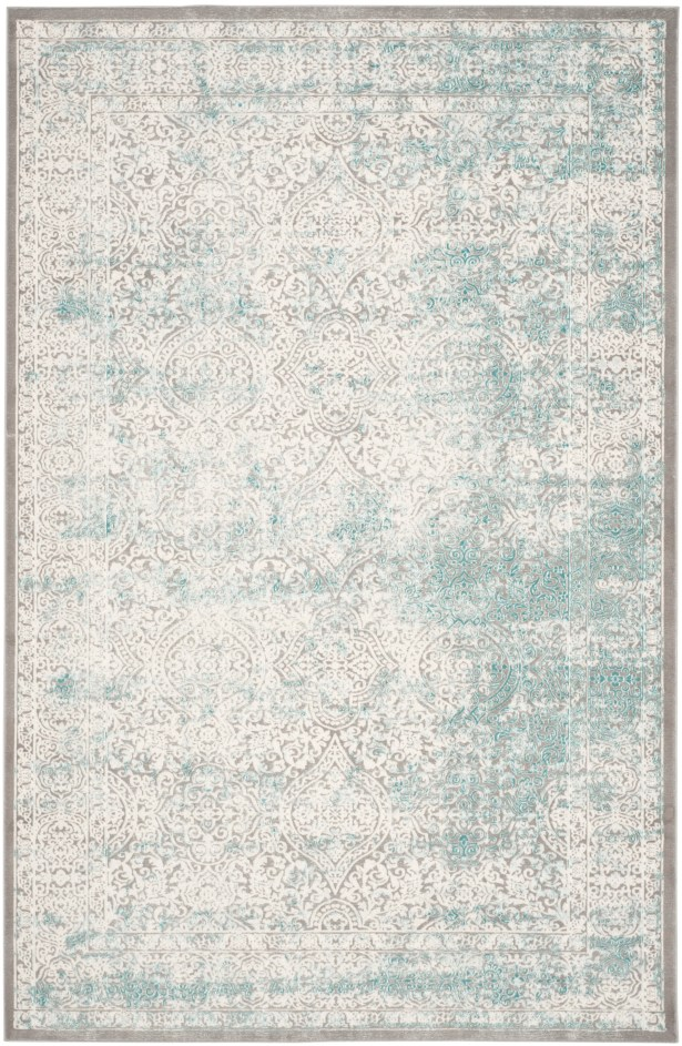 Auguste Turquoise/Ivory Area Rug Rug Size: Rectangle 8' x 11'