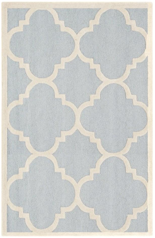 Charlenne Hand-Tufted Light Blue/Ivory Area Rug Rug Size: Rectangle 3' x 5'