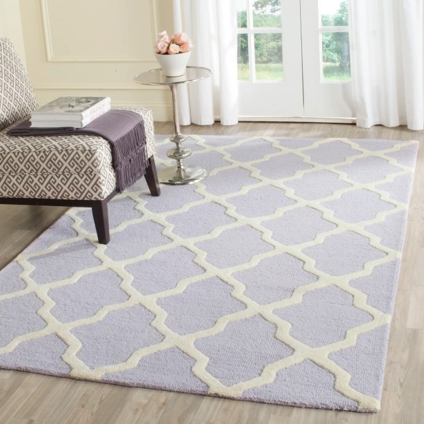 Charlenne Hand-Tufted Lavender/Ivory Area Rug Rug Size: Rectangle 3' x 5'