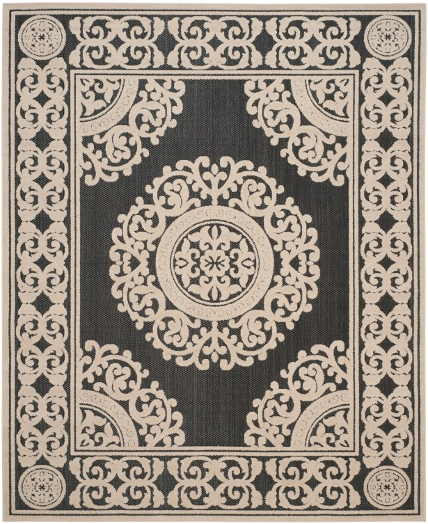 Prompton Black/Cream Area Rug Rug Size: Rectangle 5'3