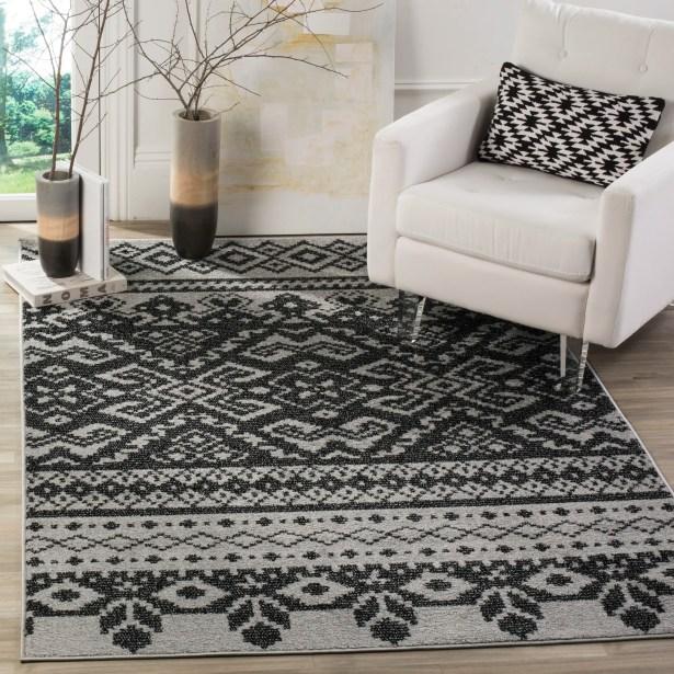 Gatineau Silver/Black Area Rug Rug Size: Rectangle 10' x 14'
