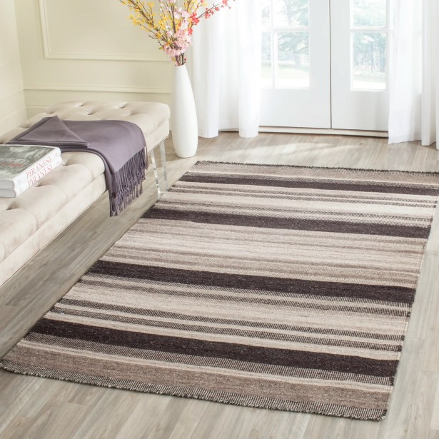 Dhurries Brown/Ivory Area Rug Rug Size: Rectangle 6' x 9'
