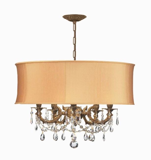 Corrinne Modern 5-Light Chandelier Finish: Aged Brass, Crystal Type: Golden Teak Swarovski Elements, Shade: Harvest Gold