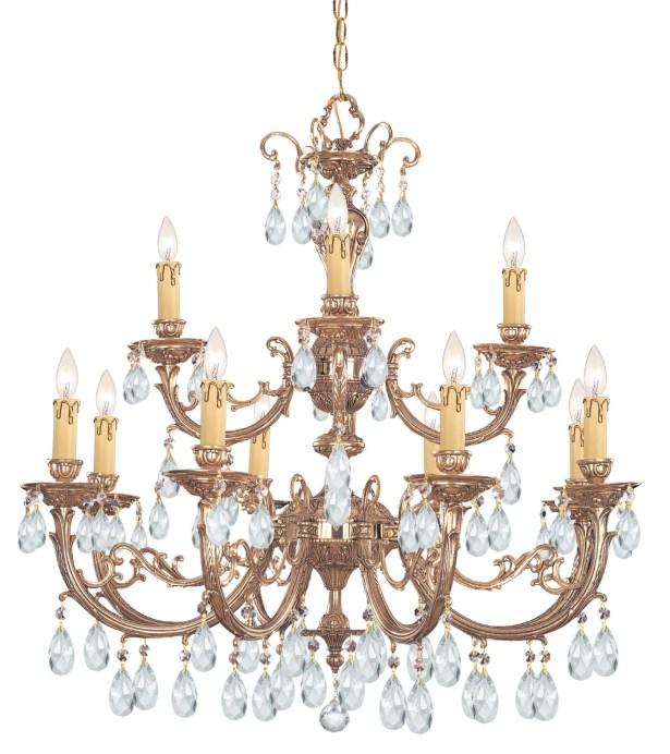 Aureolin 12 Light Chandelier Crystal: Swarovski Strass