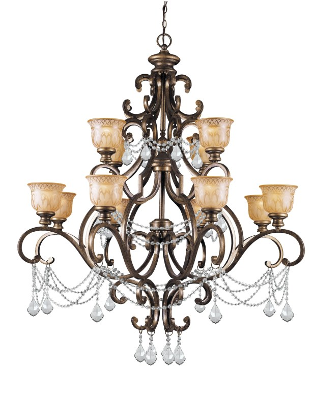 Tusten 12-Light Shaded Chandelier Crystal Type: Clear Majestic Wood Polished