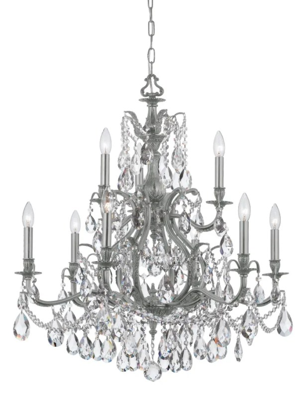 Dawson 9-Light Candle Style Chandelier Crystal Type: Clear Hand Cut, Finish: Pewter