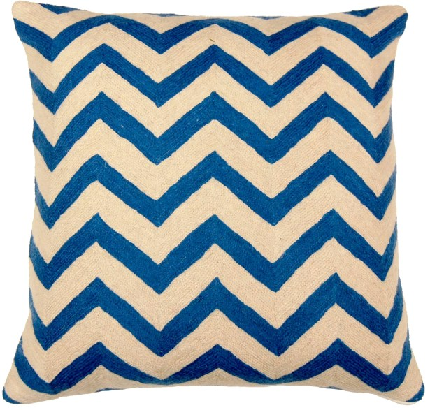 Chevron Hand Embroidery Throw Pillow Color: Blue