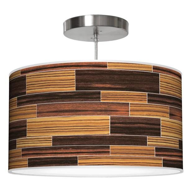 Tile 4 Drum Pendant Shade Color: Zebrawood / Ebony, Size: 11