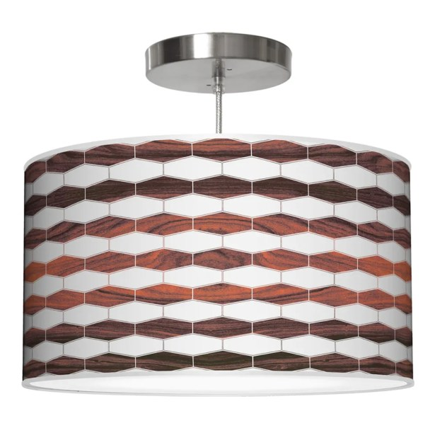 Weave 3 Drum Pendant Shade Color: Rosewood, Size: 9