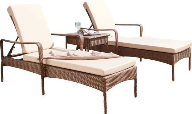 Key Biscayne Sun Lounger Set with Cushions and Table Color: Canvas Taupe