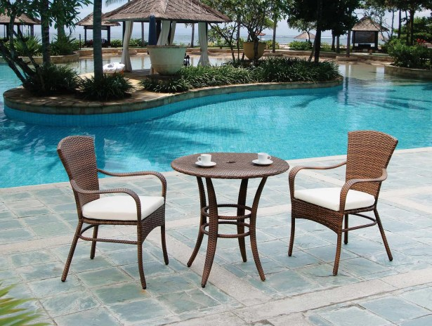 Key Biscayne 3 Piece Bistro Set with Cushions Color: Blox Slate
